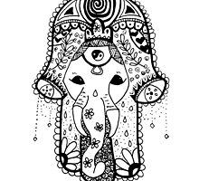 Hippie Elephant Hamsa by alexavec