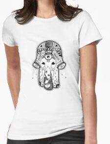 Hippie Elephant Hamsa Womens Fitted T-Shirt