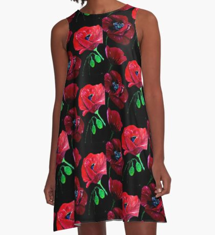 Poppies A-Line Dress