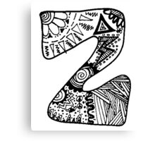 "Hipster Letter ""Z"" Zentangle Canvas Print"