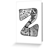 "Hipster Letter ""Z"" Zentangle Greeting Card"