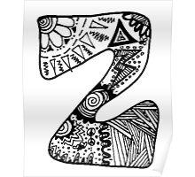 """Hipster Letter """"Z"""" Zentangle Poster"""