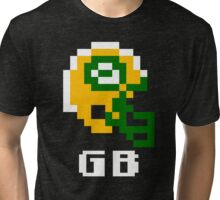 Tecmo Bowl Green Bay Football 8-Bit NES Nintendo Pixel T Shirt Tri-blend T-Shirt