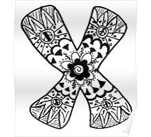 "Hipster Letter ""X"" Zentangle Poster"