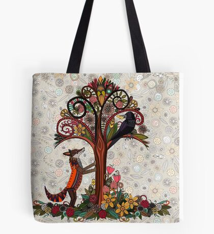 fox and crow Tote Bag