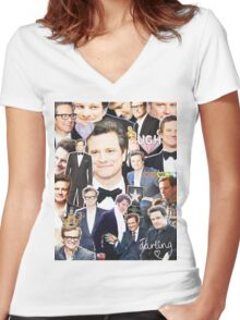 colin firth collage Women's Fitted V-Neck T-Shirt
