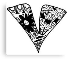 "Hipster Letter ""V"" Zentangle Canvas Print"