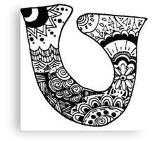 "Hipster Letter ""U"" Zentangle Canvas Print"