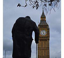 London's Big Ben and Winston Churchill Photographic Print