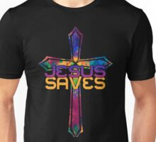 Jesus Saves with Stained Glass Cross Unisex T-Shirt