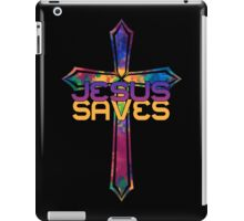Jesus Saves with Stained Glass Cross iPad Case/Skin