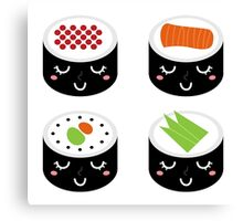 Sushi new elegant edition : White and Black Canvas Print