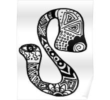 """Hipster Letter """"S"""" Zentangle Poster"""