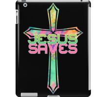 Jesus Saves with Stained Glass Cross 2 iPad Case/Skin