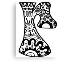 "Hipster Letter ""R"" Zentangle Canvas Print"