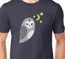 Grey Owl and Stars Unisex T-Shirt