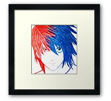 Light Vs L - Death Note Framed Print