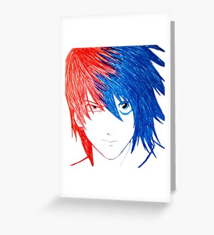 Light Vs L - Death Note Greeting Card