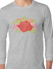 Roses Pattern- Grey Long Sleeve T-Shirt