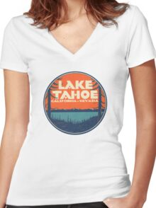 Lake Tahoe California Nevada Vintage State Travel Decal Women's Fitted V-Neck T-Shirt