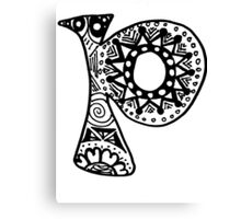 "Hipster Letter ""P"" Zentangle Canvas Print"