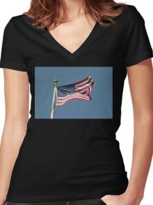 USA Flag Women's Fitted V-Neck T-Shirt