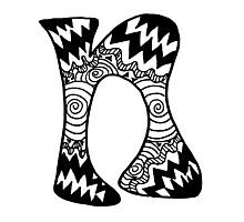 "Hipster Letter ""N"" Zentangle Photographic Print"