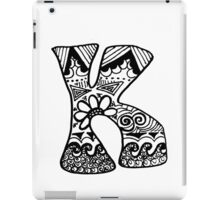 "Hipster Letter ""K"" Zentangle iPad Case/Skin"
