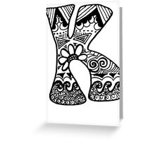 "Hipster Letter ""K"" Zentangle Greeting Card"