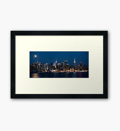 Super Moon Over New York Panorama Framed Print
