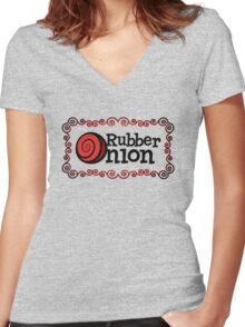 RubberOnion Logotype with Border Women's Fitted V-Neck T-Shirt