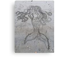 Mermaid Sand Drawing Canvas Print