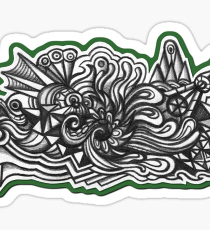 Abstract Dimensions (Black and White) Design 019 Sticker