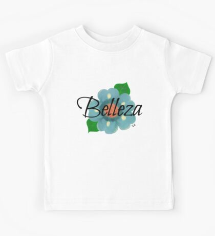 Belleza Blue Mexican flower Motif Kids Tee