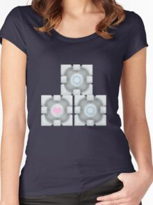 Stacked Cubes (Portal 2) Women's Fitted Scoop T-Shirt
