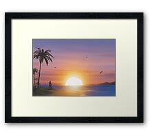 Guitarist on tropical beach at sunset Framed Print