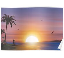 Guitarist on tropical beach at sunset Poster