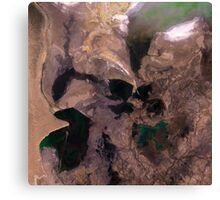 Amu Darya River Delta and South Aral Sea Satellite Image Canvas Print