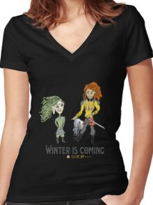 Winter is Coming Women's Fitted V-Neck T-Shirt