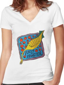Tully Monster Illinois State Fossil Women's Fitted V-Neck T-Shirt