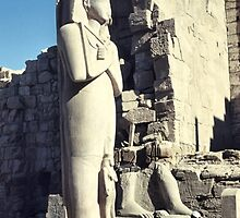 Huge Sculpture of Ramses III, Karnak, Egypt  by Carole-Anne
