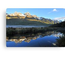 Mirror Lakes On The Way To Miford Sound. South Island, New Zealand. Canvas Print