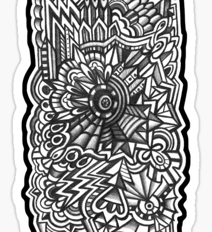 Abstract Dimensions (Black and White) Design 024 Sticker