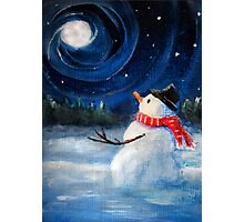 Snowman Gazes at Night Sky & Moon - Folk Painting .  Photographic Print