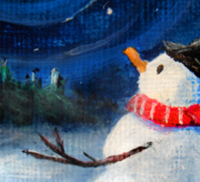 Snowman Gazes at Night Sky & Moon - Folk Painting .  Sticker