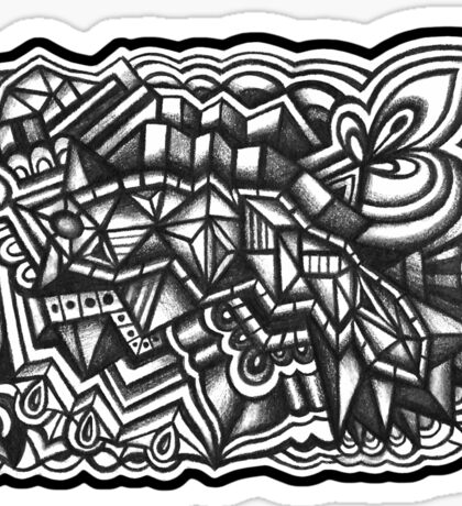 Abstract Dimensions (Black and White) Design 031 Sticker