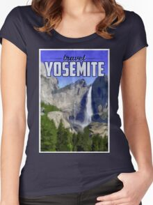 Travel Yosemite Vintage Travel Poster Women's Fitted Scoop T-Shirt