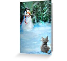 Cute Happy Snowman & Cat in Winter - Folk Painting Greeting Card