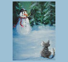 Cute Happy Snowman & Cat in Winter - Folk Painting Kids Clothes