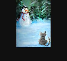 Cute Happy Snowman & Cat in Winter - Folk Painting Womens Fitted T-Shirt